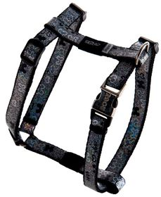 Rogz - 13mm Adjustable Dog H-Harness - Black Bone