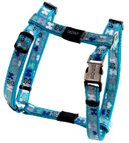 Rogz - Lapz Trendy Blue Bones Dog H-Harness - Small
