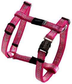 Rogz - 13mm Adjustable Dog H-Harness - Pink Bone