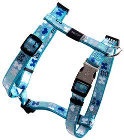 Rogz - 16mm Adjustable Dog H-Harness - Blue Bone