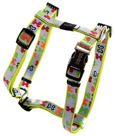 Rogz - 16mm Adjustable Dog H-Harness - Multi Bone