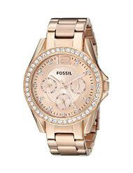 Fossil Women's ES2811 Riley Rose Gold-Tone Stainless Steel Watch with Link Bracelet (parallel import)