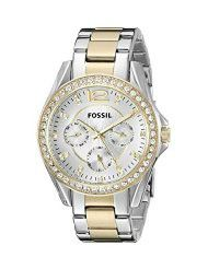 Fossil Women's ES3204 Riley Silver and Gold Tone Watch (parallel import)