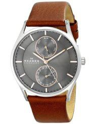 """Skagen Men's SKW6086 """"Holst"""" Stainless Steel Watch with Brown Leather band (parallel import)"""