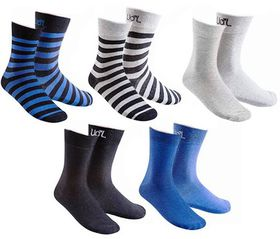 Undeez Men's Socks in Black, Blue & Grey (5 Pack)