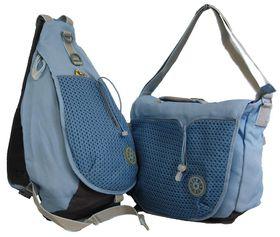 Fino Mesh Messnger Bag (SK-BKP5002/mesh) & Mesh Body Bag (SK-BKP5003/mesh) Value Pack - Sky Blue & Grey
