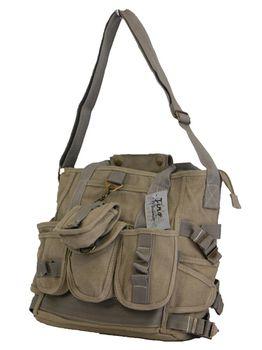 Fino Canvas Messenger Shoulder Bag (SK-JH754/WCVS) - Khaki
