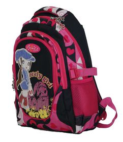 "Fino 16"" Colourfull Girls School Bag #521 - Black & Pink"