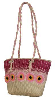 Fino Flower Straw Beach Bag (CJ05747) - Pink