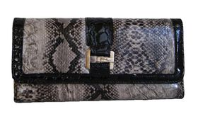 Fino Animal Print with Croc Material Trim Suynthetic Leather Purse (A47-765) - Grey
