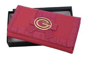 Gio PU Leather Purse with Croc Trim (GI007) - Pink