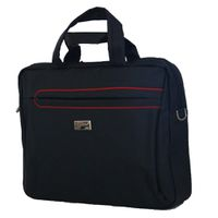 "Fino 15"" Polyester Laptop & Document Bag (SK9023) - Black & Red Pipping"