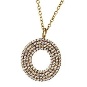 Shiroko Stainless Steel Gold Round W Cz Pendant