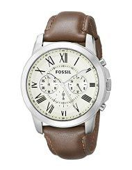 Fossil FS4735 Grant Brown Leather Watch (Parallel Import)