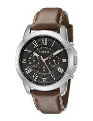 Fossil Men's FS4813 Grant Stainless Steel Watch with Brown Leather Band (parallel import)
