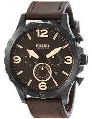 Fossil Men's JR1487 Nate Stainless Steel Watch with Brown Leather Band (parallel import)
