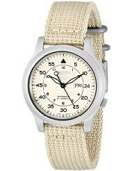 Seiko Men's SNK803 Seiko 5 Automatic Watch with Beige Canvas Strap (parallel import)