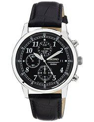 Seiko Men's SNDC33 Classic Black Leather Black Chronograph Dial Watch (parallel import)