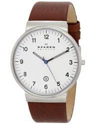 Skagen Men's SKW6082 Ancher Stainless Steel Watch with Brown Leather Band (parallel import)