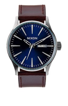 Nixon Sentry Leather Blue & Brown Men's Watch - A1051524