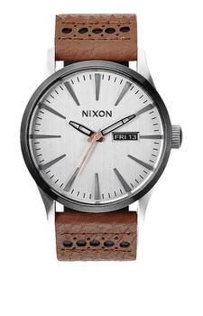Nixon Sentry Leather Saddle Silver Men's Watch - A1051752