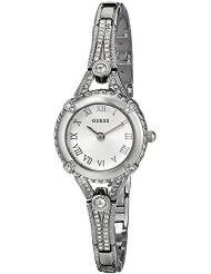 GUESS Women's U0135L1 Petite Vintage-Inspired Crystal-Accented Silver-Tone Watch (parallel import)