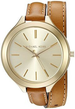 Michael Kors Women's MK2256 Runway Watch With Brown Leather Wrap Band (parallel import)