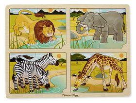 Melissa & Doug 4 in 1 Safari Wooden Jigsaw Puzzle - 16 Piece
