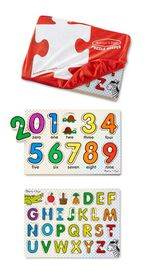 Melissa & Doug ABC and 123 peg puzzles in a bag