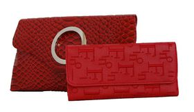 Fino Clutch Bag & Ladies Purse Set - Red (RFO6/923+Em765-2688)
