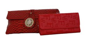Fino cross body/envelop bag & Ladies Purse Set - Red (RFO7/923+Em765-2688)
