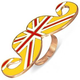 Jewelworx Fashion Alloy Rose/ Pink Gold Colour Plated Enamelled Flag of The United Kingdom/Union Jack Mustache Adjustable Ring