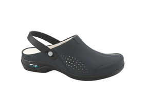 Nursing Care Washable Leather Clog Style Ladies Shoes - Navy Blue