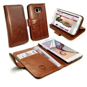Tuff-Luv Vintage Leather Wallet Case for the Samsung Galaxy S6 Edge Plus (Includes Screen Protector) - Brown