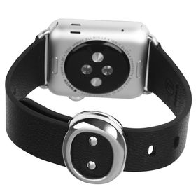 Tuff-Luv Classic Buckle Genuine Leather WatchBand for the Apple Watch 38mm - Black