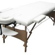 Massage Table Bed 2 section (Wooden) - White