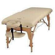 Massage Table Bed 2 section (Wooden) - Cream