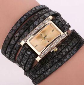 Ladies Fashion Faux Leather Wristwatch - Black