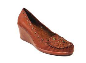 Lavanda Studs Comfort Wedge Court Shoes A3777-22 - Rust