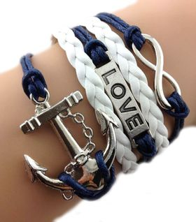 Urban Charm Lets Get Nautical Infinity Bracelet - Navy & White