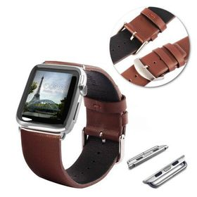 Tuff-Luv Genuine Leather Watchband Strap for Apple Watch 38mm - Brown