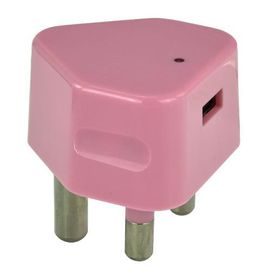 Whizzy Single USB 3 Pin Wall 2.1 Amp Charger - Pink