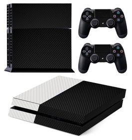 Skin-Nit Decal Skin for PS4: White + Black Carbon Fiber (Textured)