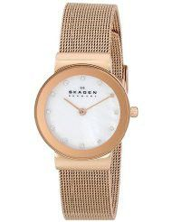 Skagen Ladies Freja Rose Gold-Tone Stainless Steel Watch - 358SRRD (Parallel Import)