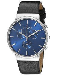 Skagen Men's Ancher Stainless Steel Watch with Black Leather Band - SKW6105 (Parallel Import)