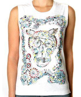 Apres Velo Ladies Chainring Tattoo Tank T-Shirt - White