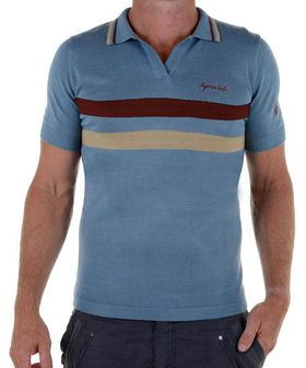 Apres Velo Men's Heritage Wool Polo T-Shirt - Vintage Blue