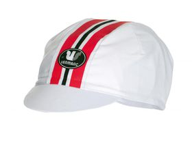 Vermarc Cycling Caps - White with Red Stripe