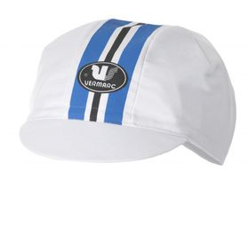 Vermarc Cycling Caps - White with Blue Stripe