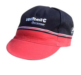Vermarc Cycling Caps - Black with Red Trim